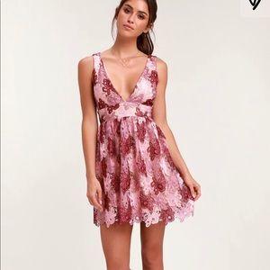 Lulu's Mauve Multi-Lace Backless Skater Dress